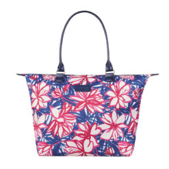 Blooming Summer Tote Bag Flower Pink Blue FRONT