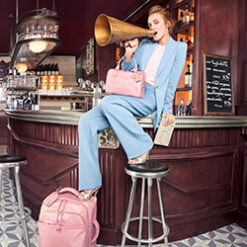 Lipault Stylish Plume Pink Handbag And Travel Luggage